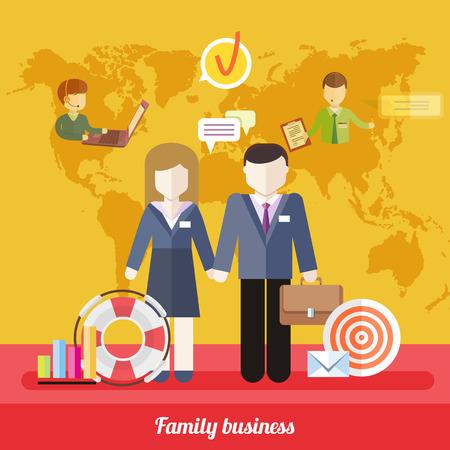 convivencia familiar: Iconos de trabajo empresarial en el diseño del plano alrededor famile. Concepto de familia de trabajo del asunto. Equilibrio entre el trabajo y la vida familiar. Marido y mujer sosteniendo cada otras manos en el fondo con el mapa mundial de negocios