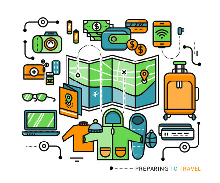 baggage: Preparing to travel. Necessary items for the journey. What to pack. Stroke icons for web design, analytics, graphic design and in flat design