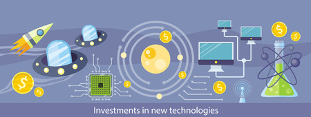 monetary: Investments in new technologies. Detailed horizontal web banner of discoveries on the stylish colored background with solar system, spaceship, chip, computer network. In flat design Illustration