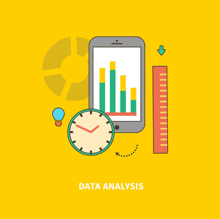 timely: Concept of steps of the business process, worlflow. Data analysis. For web design, analytics, graphic design and in flat design on colored background Illustration