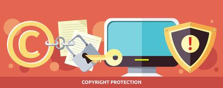 知的財産権とインターネットでデータの著作権保護法違反のコンセプトです。イラストを法律、コンピューター、鍵穴にキーします。Web バナー、プ