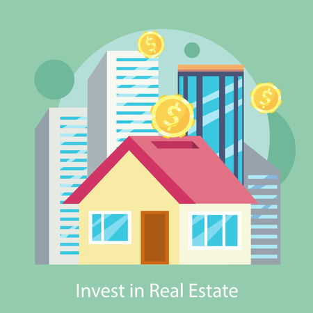 invest: Invest in Real Estate. Built houses, offices and apartments. Flat design on the stylish colored background. For web construction, applications, banners, corporate brochures, book covers, layouts etc Illustration