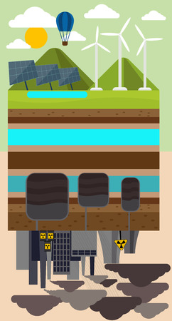 toxic waste: Green eco concept with sustainable architecture and environmental pollution by factory toxic waste. Eco technology reversed concept. Can be used for web banners and promotional material concept Illustration