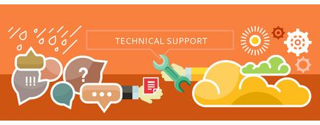 技術的なトラブルシューティングと雲からサポート。新しい技術。Web サイト構築、モバイル アプリケーション、バナー、企業パンフレット、本の表  イラスト・ベクター素材