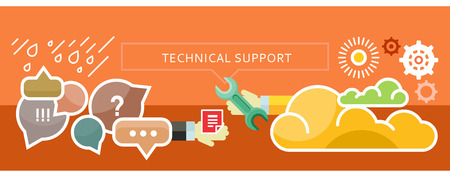Technical Troubleshooting and Support from the cloud. New technologies. For web site construction, mobile applications, banners, corporate brochures, book covers, layouts etc. Фото со стока - 41716516