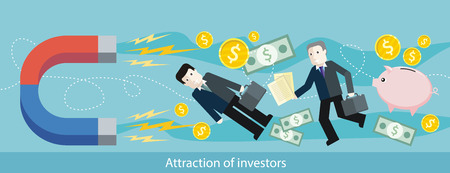 attractive: Attraction of investors. Detailed flat horizontal web banner of the drawing two businessmen, which the magnet pulls, on the stylish colored background with piggy, bank notes, coins