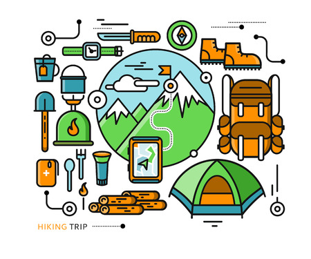 mountaineering: Mountains with snow peaks and tourist equipment. Hiking trip. Mountaineering. Travel. Stroke icons for web design, analytics, graphic design and in flat design Illustration