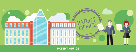 patent: Patent office concept in flat design. Attorneys patent agents man and woman holding certificates of invention. For web banners, promotional materials, presentation templates Illustration