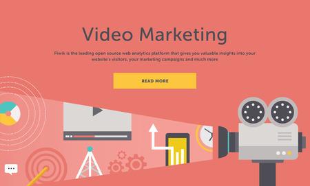 Video marketing. Enfoques, métodos y medidas para la promoción de productos y servicios basados ??en vídeo. Para la construcción web, aplicaciones móviles, pancartas, folletos corporativos, portadas de libros, presentaciones, etc. Ilustración de vector