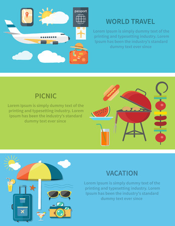 vacation: Set of modern concepts in detailed flat horizontal web banner. Items for world travel, picnic, vacation. For site construction,  mobile applications, corporate brochures, book covers, layouts etc. Illustration