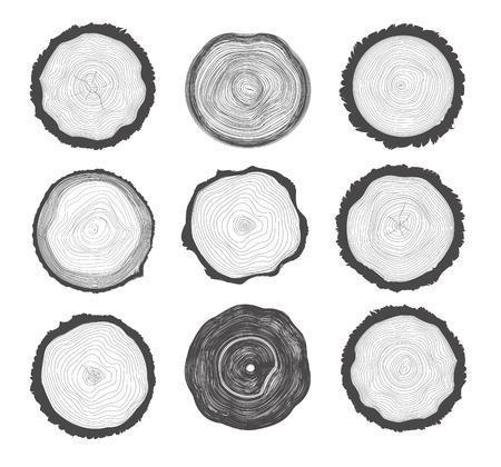 Sammlung Satz von 9 Baumringen. Schwarze Farbe auf weißem Hintergrund Standard-Bild - 41716561