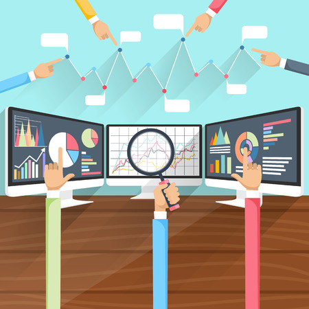 Price movement. Stock exchange rates on monitors with hands. Profit graph for diagram. Electronic stock numbers. Profit gain. Business stock exchange. Live online screen. Flat icon modern design Stock Illustratie