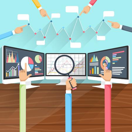Koersbeweging. Stock wisselkoersen op monitoren met handen. Winst grafiek voor diagram. Elektronische voorraad nummers. Winst gewin. Zakelijke beurs. Live online scherm. Flat pictogram modern design Stock Illustratie