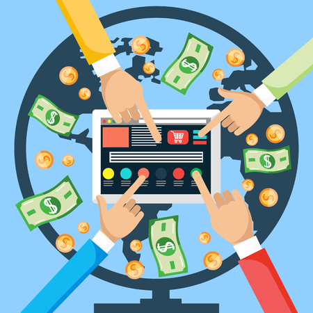 pay money: Financial concept. Make money from world internet with tablet. Hands pushing a button on the tablet , and the money is coming from around the world via the Internet. Pay per click, online store. Illustration