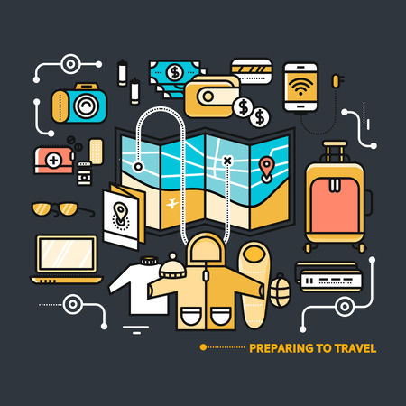 preparing: Preparing to travel. Necessary items for the journey. What to pack.  Thin, lines, outline icons for web design, analytics, graphic design and in flat design on black color background