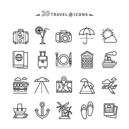 beach holiday: Set of black travel thin, lines, outline icons. Attributes of summer beach holiday, bus, hotel, guide, suitcase, road, aircraft, ship on white background. For web and mobile applications Illustration
