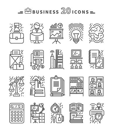 people laptop: Set of black business thin, lines, outline icons for marketung, production, account, balance, accounting, management on white background. For web and mobile applications