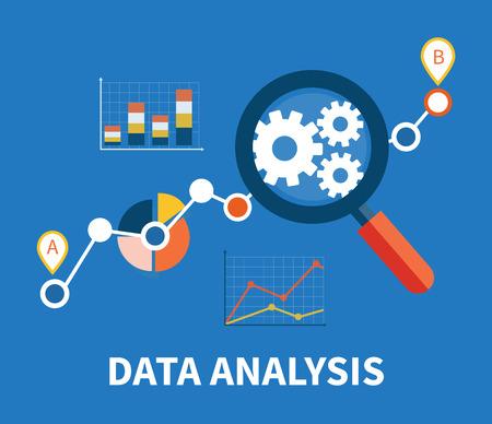Bandera con la lupa se centró en marcha y gráfico circular multicolor con el análisis de datos de nombre en el fondo azul. Para la construcción web, aplicaciones móviles, pancartas, folletos corporativos, diseños