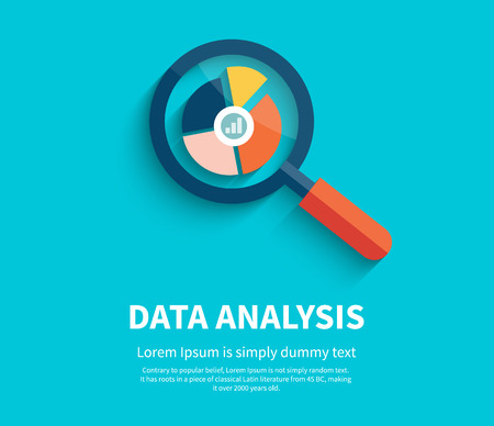 Banner with magnifying glass and multi-colored pie chart with the name Data analysis on blue background. For web construction, mobile applications, banners, corporate brochures, book covers, layouts