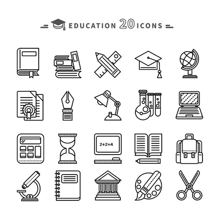 writing book: Set of black education thin, lines, outline icons. Items for study ruler, pencil, microscope, backpack, computer, palette, glasses on white background. For web and mobile applications Illustration