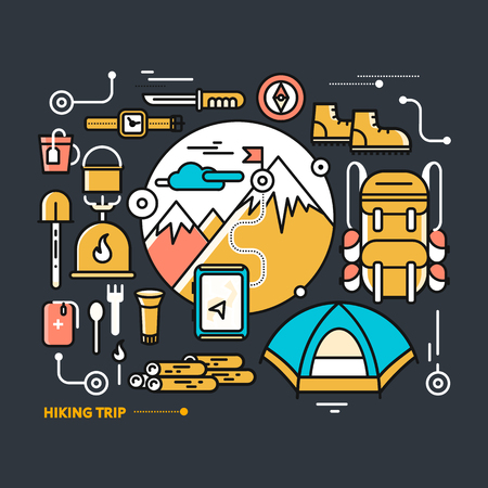 mountaineering: Mountains with snow peaks and tourist equipment. Hiking trip. Mountaineering. Travel. Thin, lines, outline icons for web design, analytics, graphic design and in flat design on black background
