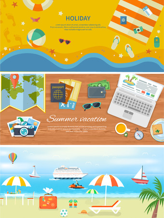 travel card: Set of modern concepts in detailed web banner. Traveling, summer vacation, journey. Items for beach holidays in flat design. Relaxing holiday by the sea. For web construction, mobile applications