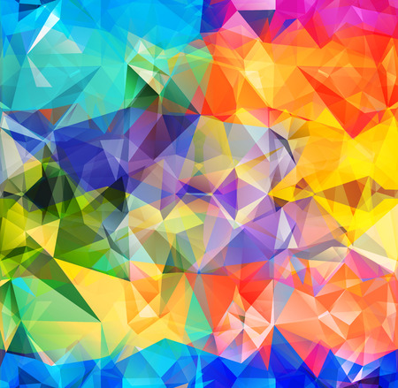 Abstract geometric background version 7. Multicolored triangles. Beautiful inscription. Triangle background with bright lines. Pattern of crystal geometric shapes. Mosaic banner Ilustração