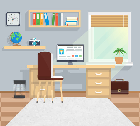 Modern business office workspace with desk, computer with interface, books in minimalistic style and color. Part of the workflow. For web banners, marketing and promotional materials, presentation