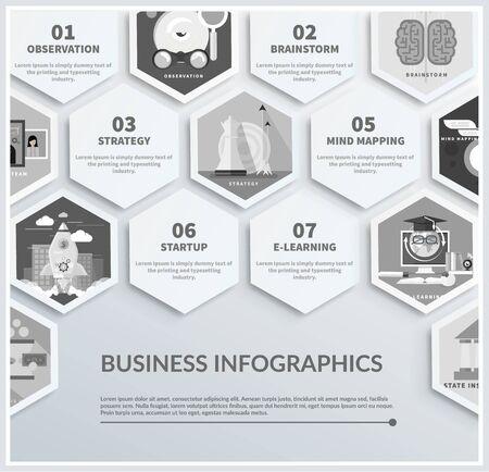 lluvia de ideas: Iconos infográficas de headwork, planificación de estrategias, herramientas de negocio puesta en marcha de observación equipo creativo de mapas mentales lluvia de ideas e-learning el tiempo es dinero. Diferentes iconos de diseño plano en color negro Vectores
