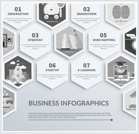 mapping: Icons infographic of headwork, strategy planning, business tools start up observation creative team mind mapping brainstorm e-learning time is money. Different icons in flat design in black color Illustration