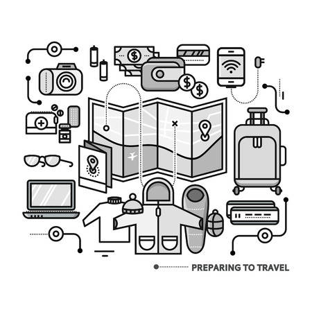 preparing: Preparing to travel. Necessary items for the journey. What to pack.  Thin, lines, outline icons for web design, analytics, graphic design and in flat design
