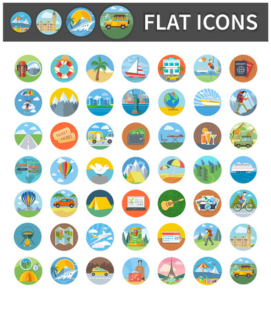 Set circle colorful icons of traveling, summer vacation, tourism and journey. Items in flat design. Different types of travel. Per click internet advertising in flat design