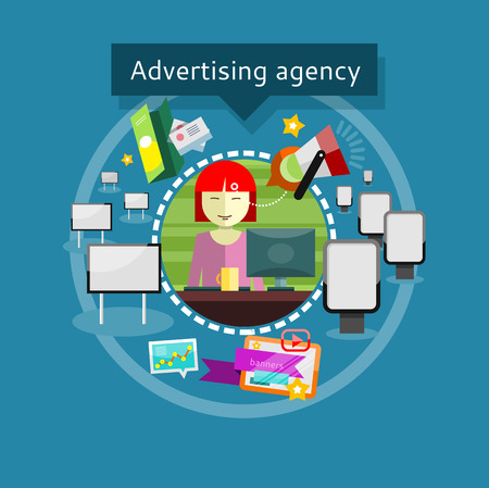 Concept of Advertising agency. Lady advertising agent in office presents ideas and types of promotional products around For web site construction, mobile applications, banners, corporate brochures etc