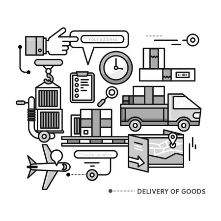 shipment tracking: Concept of purchasing, delivery of product via internet.  Thin, lines, outline icons elements of delivery service. Transportation chain aviation, customs, control, cars