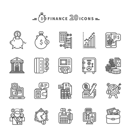 accounts: Set of black finance thin, lines, outline icons. Items for investment, economy, account, balance, planning, management on white background. For web and mobile applications