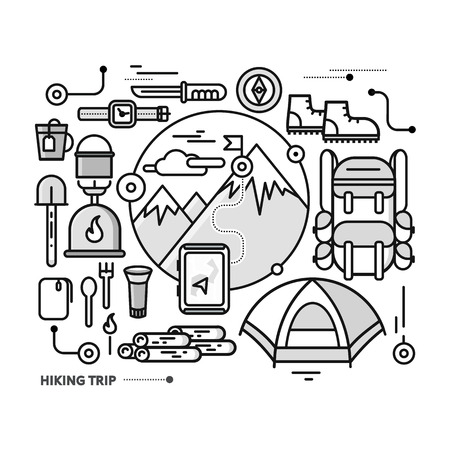 mountaineering: Mountains with snow peaks and tourist equipment. Hiking trip. Mountaineering. Travel. Thin, lines, outline icons for web design, analytics, graphic design and in flat design