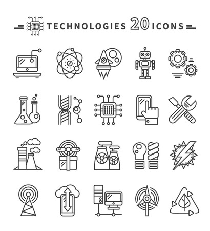 Set of technologies black thin, lines, outline icons for energy, robotics, communications, environment, aerospace, mechanical engineering on white background. For web construction, mobile applications Illustration