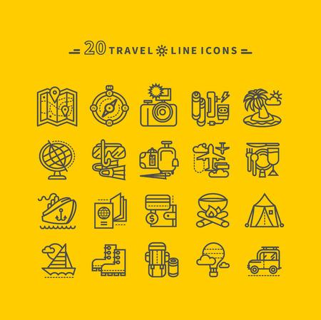 amarillo y negro: Conjunto de viajes negro finas, líneas, iconos de contorno de las vacaciones de verano, el turismo y el viaje. Los productos para los viajes en el diseño de plano sobre fondo amarillo. Para sitio web y aplicaciones móviles
