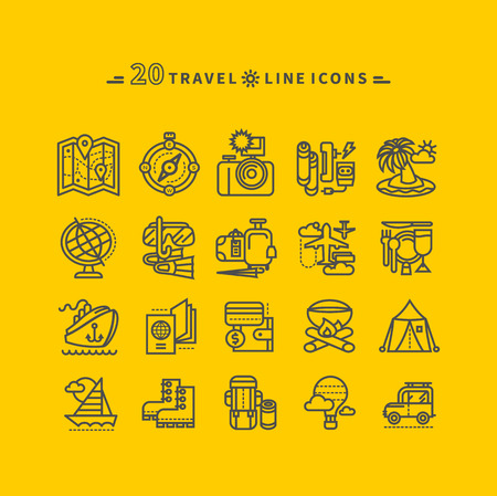 sail fin: Set of black travel thin, lines, outline icons of summer vacation, tourism and journey. Items for travel in flat design on yellow background. For website and mobile applications Illustration
