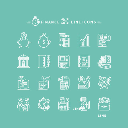 chart: Set of white finance thin, lines, outline icons. Items for investment, economy, account, balance, planning, management on green background. For web and mobile applications Illustration