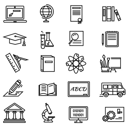 pen and paper: Set of black education thin, lines, outline icons. Items for study ruler, pencil, microscope, backpack, laptop, palette, diplome on white background. For web and mobile applications