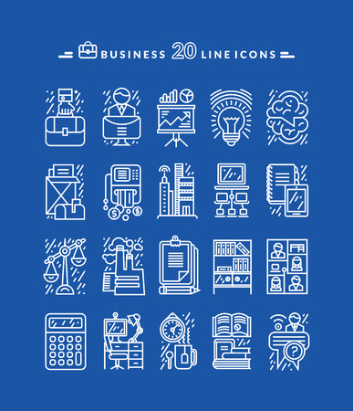 fila de personas: Conjunto de iconos, l�neas, esquema fino blanco negocio para marketung, la producci�n, la cuenta, el equilibrio, la contabilidad, la gesti�n sobre fondo azul. Para las aplicaciones web y m�viles
