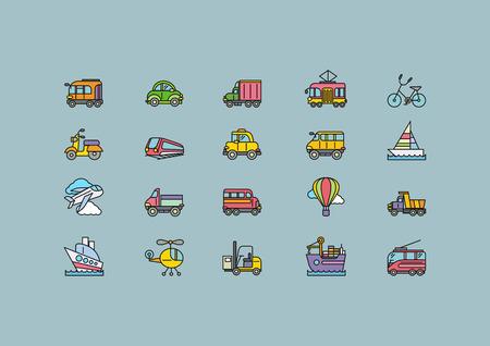 tren caricatura: Conjunto de transporte colorido delgado, líneas, esquema, acaricia iconos. Diferentes tipos de avión de transporte, bicicleta, tren, automóvil, globo, barco, barco de vela en fondo gris. Para aplicaciones web y móviles