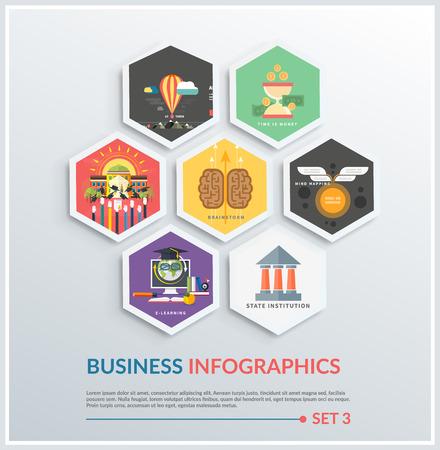 mente humana: Iconos infográficas de lluvia de ideas, institución estatal, herramientas de negocios, poner en marcha, mapas mentales, e-learning, el tiempo es dinero, la escuela. Diferentes iconos de diseño plano Vectores