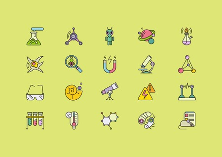 chemically: Set of colorful science thin, lines, outline, strokes icons. Symbols of different sciences tube, spiritlamp, bulb, magnet, microscope, telescope on green background. For web and mobile applications Illustration