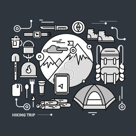 Mountains with snow peaks and tourist equipment. Hiking trip. Mountaineering. Travel. Stroke icons for web design, analytics, graphic design and in flat design on black monochrome color