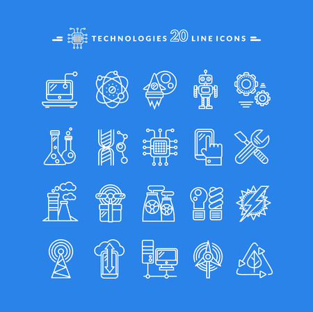 thin bulb: Set of technologies white thin, lines, outline icons for energy, robotics, communications, environment, aerospace, mechanical engineering on blue background. For web construction, mobile applications
