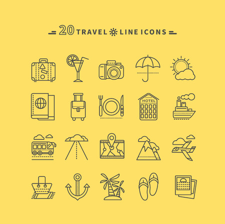 Set of black travel thin, lines, outline icons. Attributes of summer beach holiday, bus, hotel, guide, suitcase, road, aircraft, ship on yellow background. For websites and mobile applications