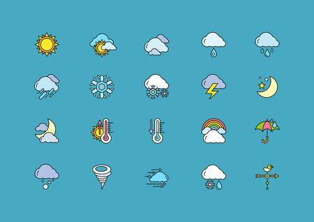 meteo: Set di tempo colorato sottile, linee, contorni, ictus icone. Simboli meteo neve, arcobaleno, pioggia, caldo, soleggiato, nuvoloso, vento su sfondo blu scuro. Per le applicazioni web e mobile