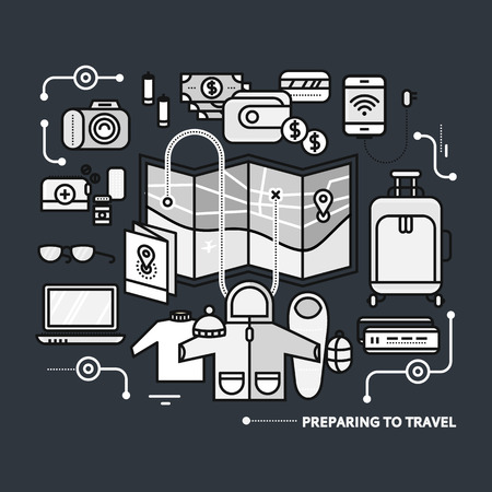 baggage: Preparing to travel. Necessary items for the journey. What to pack.  Thin, lines, outline icons for web design, analytics, graphic design and in flat design on black monochrome color background